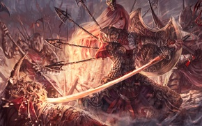 Обои оружие, девушка, броня, арт, враги, щит, фантастика