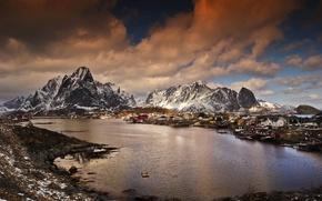Картинка зима, горы, Норвегия, залив, поселок