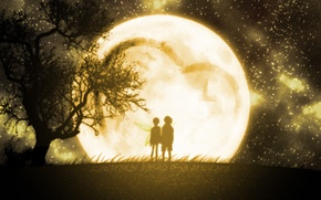 Картинка дерево, луна, пара