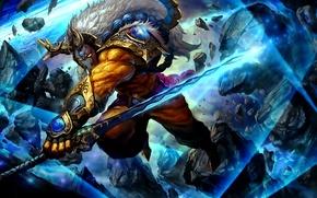 Картинка оружие, меч, воин, маска, арт, Dota 2, Juggernaut, Yurnero