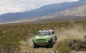 Картинка Горы, Спорт, Зеленый, Гонка, Mini Cooper, Rally, Dakar, Дакар, MINI, Мини Купер, X-raid