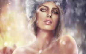 Картинка взгляд, девушка, снег, шапка, арт, губы