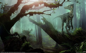 Картинка лес, динозавр, Daren Horley, велоцираптор