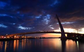 Картинка ночь, мост, город, огни, река, люди, корабли, яхты, New Taipei City