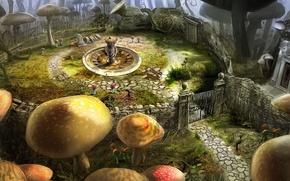 Картинка цветы, грибы, ворота, алиса в стране чудес, тим бёртон