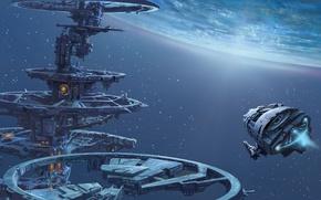 Картинка космос, звезды, корабль, планета, станция, арт