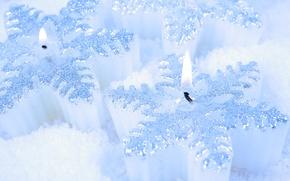 Обои белый, свечи, снег