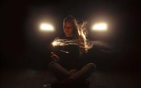 Картинка девушка, огни, ситуация