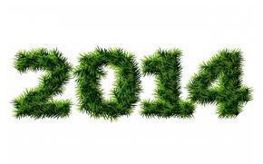 Обои 2014, цифры, елка, иголки, обои