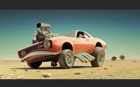 Обои авто, пустыня, двигатель
