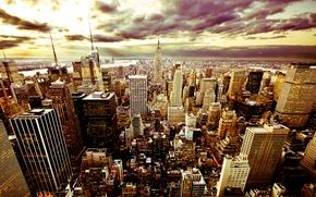 Обои тучи, new york, сша, небо, небоскребы, город, нью йорк, вечер, красиво, америка, здания