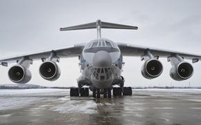 Картинка двигатели, Ил 76МД 90А, снег, ВПП