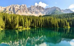 Обои озеро, отражение, горы, лес, природа
