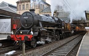 Обои Steam train, станция, паровоз, железная дорога