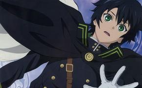 Картинка ремень, жест, зеленые глаза, военная форма, черный плащ, Owari no Seraph, Yuuichirou Hyakuya, Последний серафим, …