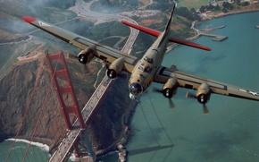 Обои мост, Самолет, Золотые ворота