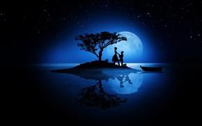 Картинка любовь, ночь, луна, романтика, звёзды, пара, силуэты, день всех влюблённых