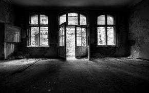Картинка дом, фото, фон, комната, настроение, обои, чёрно-белое, картинка, разное, помещение, заброшенное