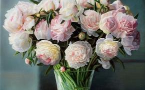 Картинка ваза, картина, букет, стебли, Zbigniew Kopania, натюрморт, пионы, розовые