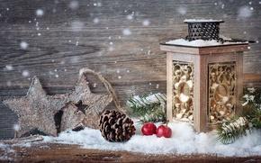 Обои merry christmas, new year, lantern, star, cherry, pineapple