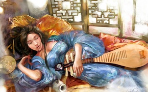 Обои девушка, рисунок, веер, спит, постель, vikiey, саке, лютня
