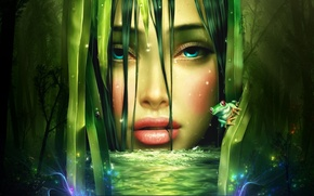 Картинка вода, девушка, лицо, лягушка, Танг Ешуи