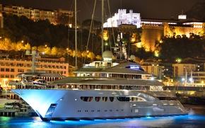 Картинка ночь, city, город, замок, гора, дома, вечер, порт, вертолет, Monaco, дворец, night, Монако, Монте Карло, …