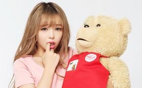 Картинка девушка, настроение, игрушка, медведь
