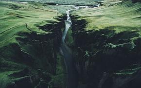 Обои река, скалы, ущелье, Исландия