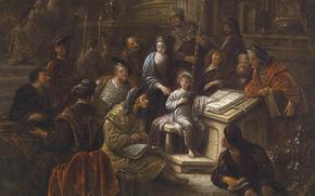 Картинка картина, мифология, Якоб де Вет Старший, Отрок Иисус Среди Израильских Учителей