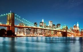 Обои brooklyn bridge, new york, мост, нью-йорк, город, огни, бруклинский мост, ночь