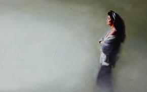 Картинка взгляд, женщина, картина, профиль, paintings, Традиционное искусство, грусть.