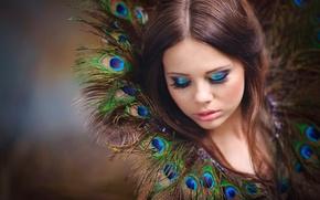 Обои портрет, перья, макияж