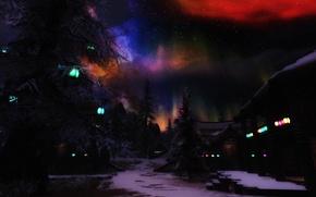 Картинка звезды, снег, деревья, северное сияние, домики, фонари ночь