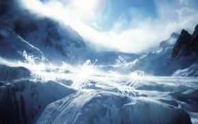 Обои зима, снег, круги, пейзаж, горы, скалы, отдых, ландшафт, завитушки, стрелки, ввысь, вверх, склоны, завитки, лыжня, ...