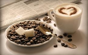 Обои чашка, Капучино, cappuccino, кофе, сахар, блюдце, газета, зерна, кубики, ложка