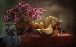 Картинка вино, яблоки, бокал, букет, натюрморт, дыня