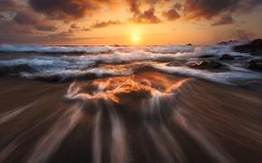 Картинка море, волны, небо, солнце