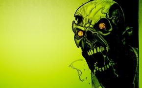Обои зеленый, Череп, horror, green, toxic, zombie, зомби