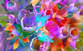 Обои цветы, лепестки, листья, линии, краски
