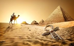 Картинка Песок, Египет, Верблюды, Cairo, Пустыни, Рассветы и Закаты
