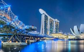 Обои мост, сооружения, Marina Bay Sands, Helix Bridge, неон, огни, ночь, Сингапур, здания, набережная, река, дизайн
