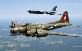 Картинка пара, пилот, парад, бомбардировщик, B-17, летающая крепость, Flying Fortress, B-52, Stratofortress