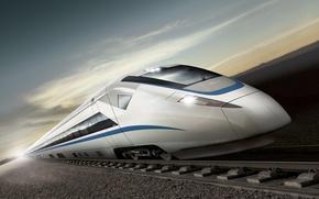 Обои рельсы, поезд, скорость