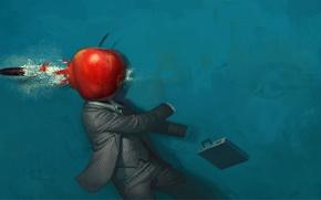 Обои яблоко, Рисунок, пуля, странно