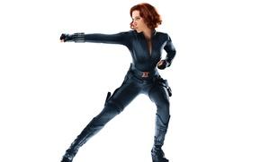 Картинка взгляд, поза, фон, актриса, Scarlett Johansson, костюм, Hollywood, red, girl, Скарлетт Йоханссон, character, black, marvel, …