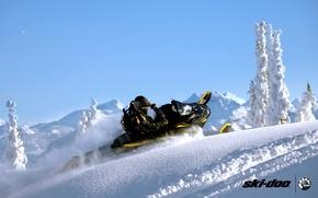 Картинка снег, спорт, sport, портфель, mountain, snow, снегоход, summit, snowmobile, ski-doo, brp, skidoo