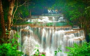 Картинка лес, деревья, тропики, ручей, водопад, Таиланд, каскад, Kanchanaburi, Huay Maekamin Waterfall