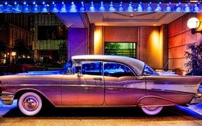 Обои улица, фонарь, огни, ретро, 1957, chevy