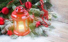 Обои winter, snow, merry, christmas, xmas, decoration, lantern, candle